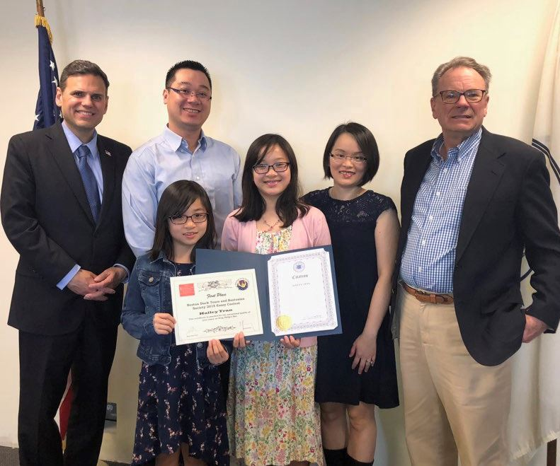 Mayor Christenson with Hailey Tran, her family and Jim Healy of Boston Duck Tours (far right)
