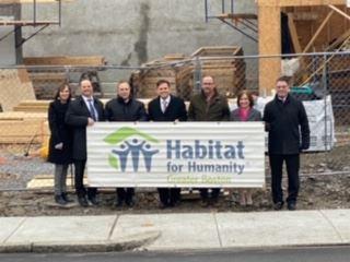 Debbie Burke, MRA Director,  Mayor Christenson, Habitat for Humanity, and NE Met. Reg. Vocational Sc